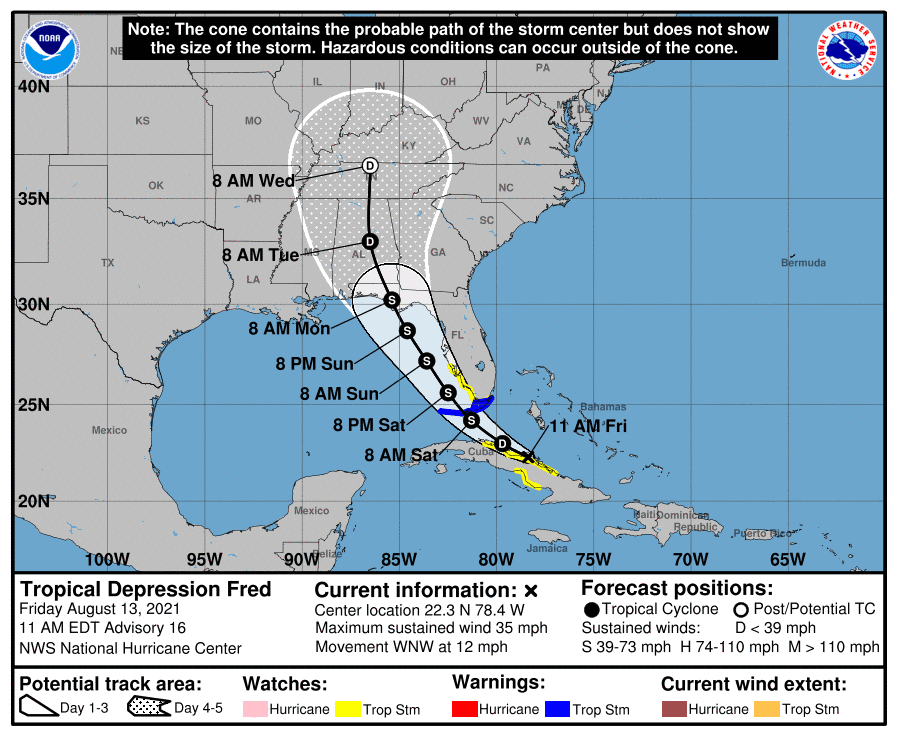 Tropical storm Fred warnings for Florida. Storm/hurricane Grace threat next week